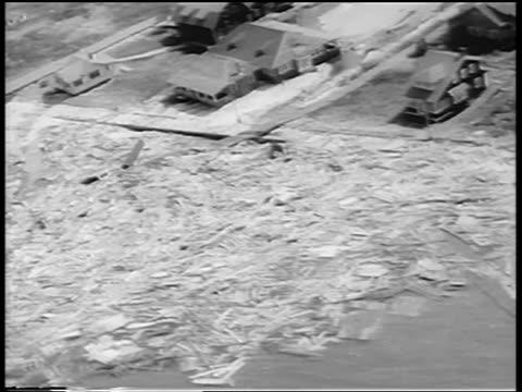 aerial debris on waterfront after hurricane / northeast us / newsreel - moving process plate stock videos & royalty-free footage