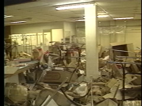 debris remains scattered around a store that has been looted - crime or recreational drug or prison or legal trial video stock e b–roll