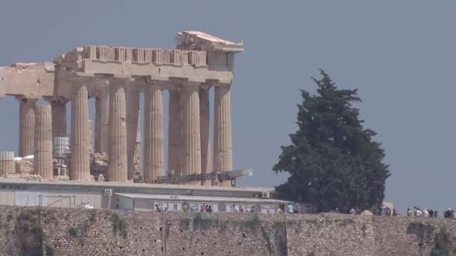 impact of 'no' vote in referendum; greece: athens: ext wide shot of the parthenon on flat-topped rock wide shot parthenon wide shot the parthenon... - rock the vote stock-videos und b-roll-filmmaterial