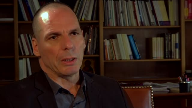 money starts to run out ahead of referendum; grece: athens: int yanis varoufakis interview sot - we have received interesting proposals from brussels... - greece stock videos & royalty-free footage