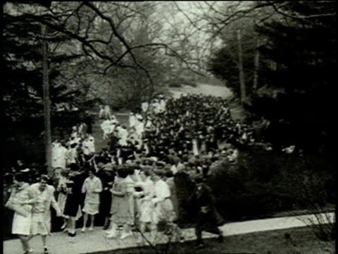 1962 montage debutantes and graduates competing in the annual wellesley hoop race / wellesley, massachusetts, united states - wellesley massachusetts stock videos and b-roll footage