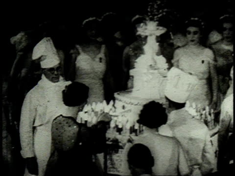 1962 montage debutantes attending the birthday celebration of the duchess of kent at buckingham palace / london, united kingdom, united kingdom - 1962 stock videos & royalty-free footage