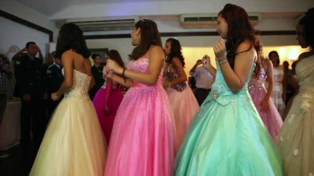 debutantes dance at their debutante ball on december 10 2014 in rio de janeiro brazil the gala was held in a posh tennis club and organized by the... - debutante stock videos & royalty-free footage