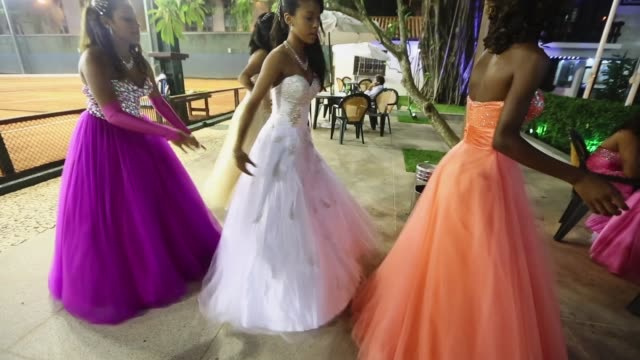 debutantes prepare for their debutante ball on december 10 2014 in rio de janeiro brazil the gala was held in a posh tennis club and organised by the... - debutante stock videos & royalty-free footage