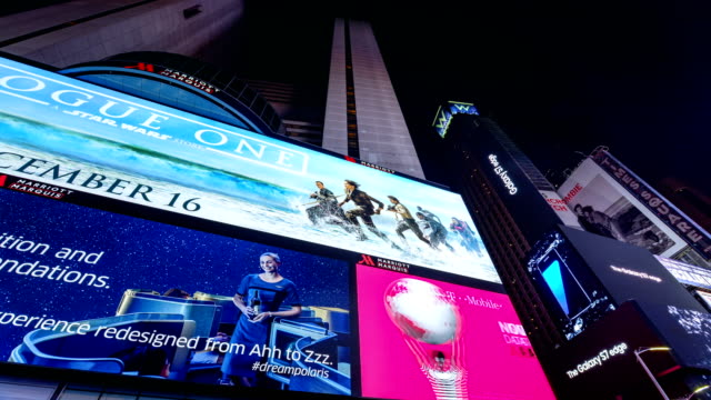 display of electronic billboard advertisements in times square at night / midtown manhattan broadway and seventh avenue new york city usa /... - marriott marquis new york stock videos & royalty-free footage