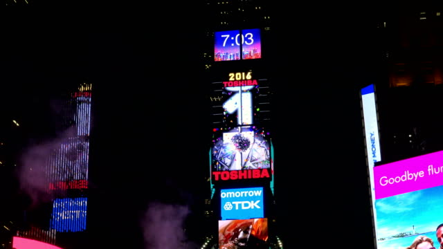 december 08, 2016: the new year's eve ball will drop at one times square atop of the toshiba tower / shown here is the exact location of the ball... - digital clock stock videos & royalty-free footage