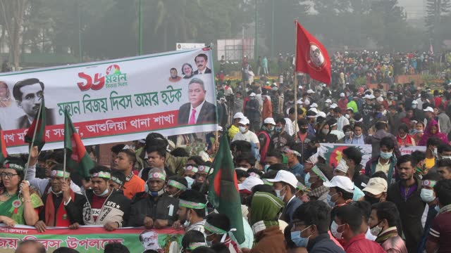 december 16, 2020: people gather to pay their respect at the national memorial of the 1971 bangladesh independence war's martyrs to mark the... - independence stock videos & royalty-free footage