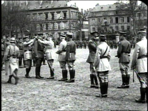 december 1918 ws general john pershing pinning medals on soldiers from the french army / metz france - john pershing stock videos & royalty-free footage