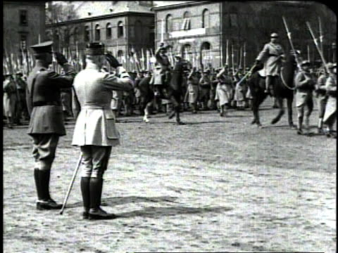 december 1918 ws general pershing and marshal petain saluting soldiers from the us and french army marching by / metz france - metz stock videos and b-roll footage