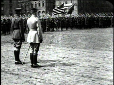 december 1918 ws general pershing and marshal petain saluting troops marching by / metz france - metz stock videos and b-roll footage