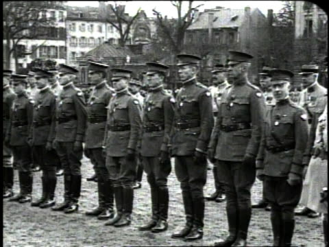 december 1918 pan soldiers from the french army standing at attention and saluting general pershing / metz france - metz stock videos and b-roll footage