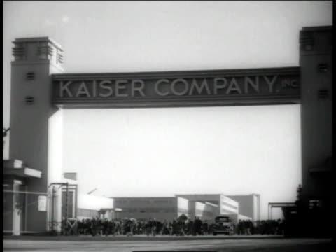 December, 1942 WS Kaiser Company sign at shipyard entrance / Richmond, California, United States