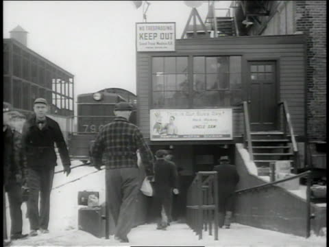 december 1942 ws workers walking down ramp into factory / pontiac, michigan, united states  - general motors stock videos & royalty-free footage