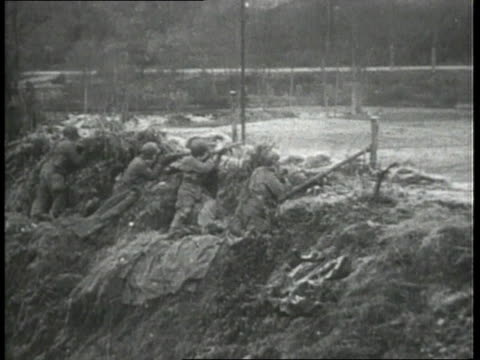 december 1944 montage battle of the bulge combat action scenes as german tanks and troops counterattack / belgium - 1944 stock videos & royalty-free footage
