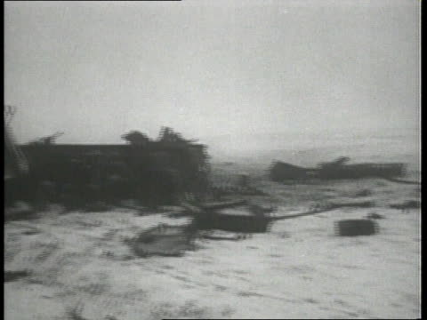 December 1944 MONTAGE German vehicles that have been destroyed by American troops / Belgium