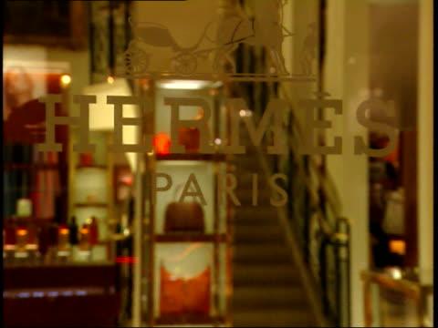 december 2 2006 montage hermes storefront / paris france - hermes designer label stock videos and b-roll footage