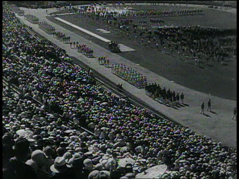 december 22 1932 montage opening of tenth olympiad in los angeles california - 1932 stock-videos und b-roll-filmmaterial