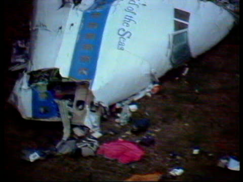 december 22 1988 film montage airplane pov panam flight 103 bombing wreckage on ground/ ms zo wreckage/ lockerbie scotland/ audio - lockerbie stock videos & royalty-free footage