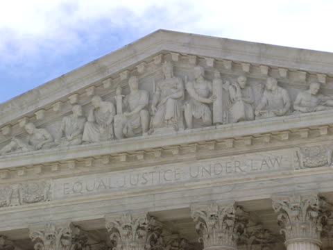 december 29 2006 cu 'equal justice under law over western facade of the supreme court building / washington dc united states - architrav stock-videos und b-roll-filmmaterial
