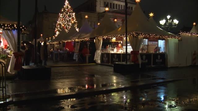 December 3 2009 TU Illuminated sign for outdoor market in the Gendarmenmarkt / Berlin Germany