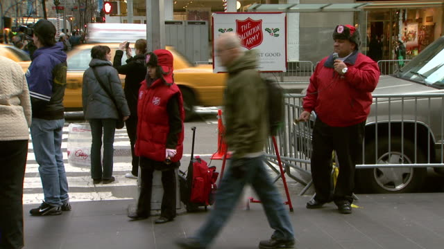 december 5, 2008 salvation army workers collecting donations / new york city, new york, united states - salvation army stock videos & royalty-free footage