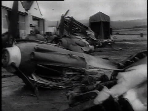 december 7 1941 montage destroyed air planes on the flightline / pearl harbor hawaii united states - anno 1941 video stock e b–roll
