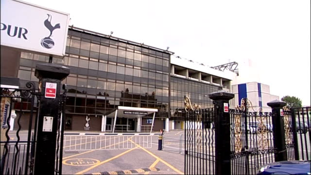decision to award olympic stadium to west ham could be reversed railings at white hart lane 'welcome to tottenham hotspur' sign at stadium entrance... - tottenham hotspur f.c stock videos & royalty-free footage