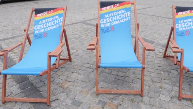 deck chairs of the rightwing alternative for germany with the inscription get up history is made at an election campaign in the state of brandenburg... - engraved image stock videos and b-roll footage
