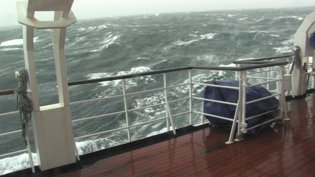 MS, Deck of sip moving through stormy seas and swells, South Georgia Island, Falkland Islands, British overseas territory