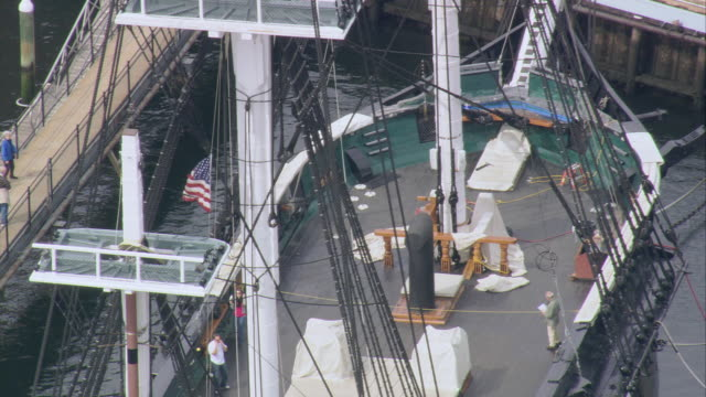 aerial deck of uss constitution ship anchored in port at boston harbor / massachusetts, united states - uss constitution stock videos and b-roll footage