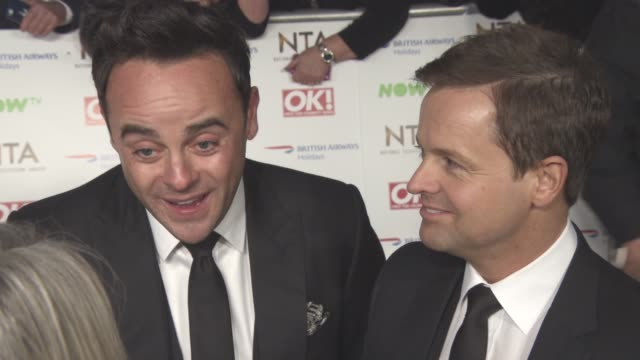 stockvideo's en b-roll-footage met interview declan donnelly anthony mcpartlin on it being the end of the award run at television awards 2016 on january 19 2016 in london england - declan donnelly