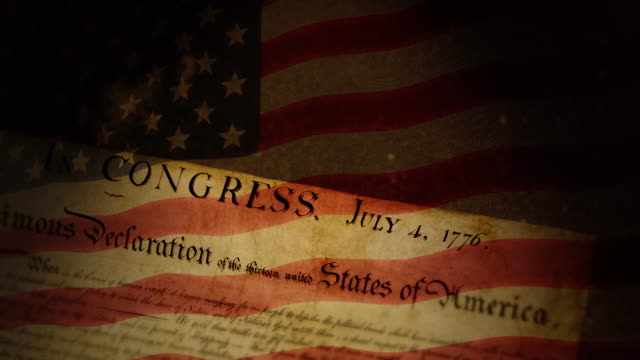 declaration of independence, usa flag - united states congress stock videos & royalty-free footage