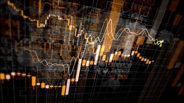 fallende finanzielle diagramme loop - bericht stock-videos und b-roll-filmmaterial