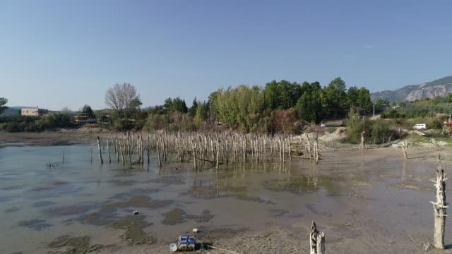 declining levels of a water reservoir oymapınar antalya - drought stock videos & royalty-free footage