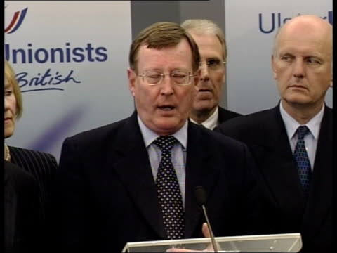 decommissioning: talks stalled; utv - no resale david trimble mp into press conference with other party members david trimble mp press conference sot... - out of context stock videos & royalty-free footage