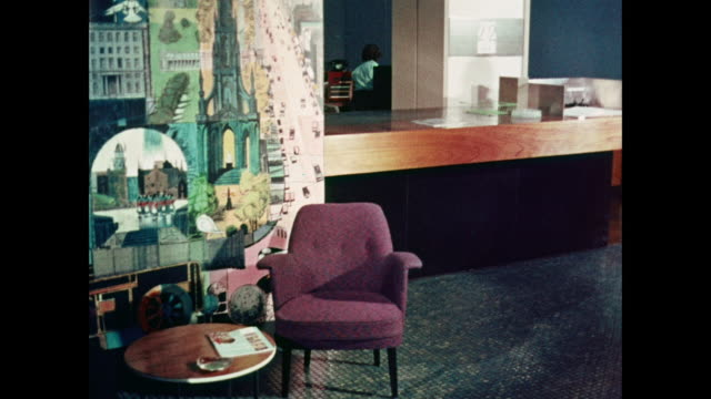montage decor and design inside lobby and waiting area / united kingdom - 1950 1959 stock-videos und b-roll-filmmaterial