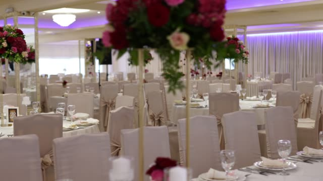 decorated banquet hall for wedding - entertainment building stock videos & royalty-free footage