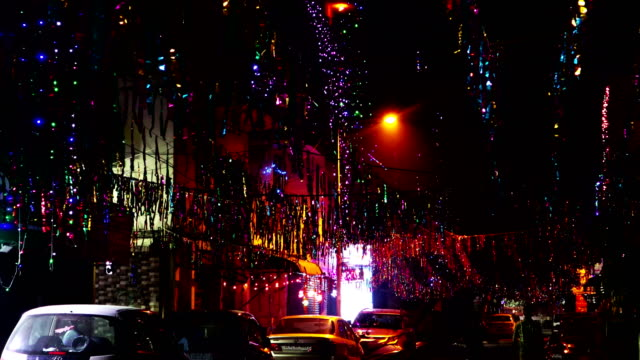 decorated city street on diwali festival - decoration stock videos & royalty-free footage