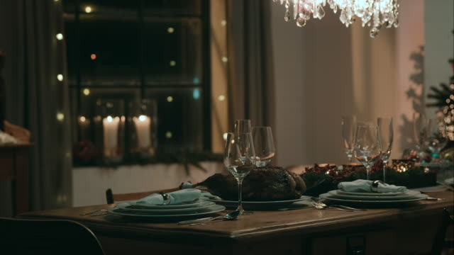 decorated dinner table for christmas eve - goose meat stock videos and b-roll footage