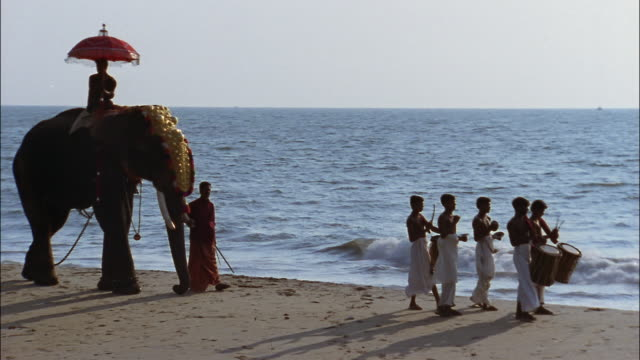A decorated elephant with a rider follows musicians on a beach.