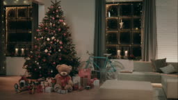 Decorated living room on christmas eve