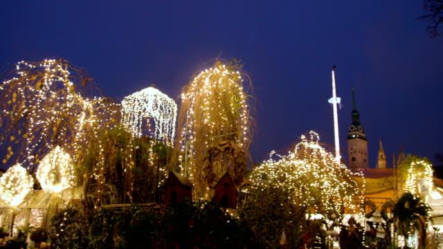 decorated plants with lights - ミュンヘン点の映像素材/bロール