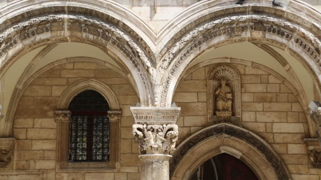 decorated portico in the rectoc's palace, dubrovnik - circa 14th century stock videos & royalty-free footage