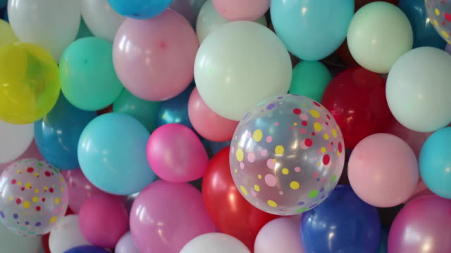decorated room with balloons - birthday stock videos & royalty-free footage