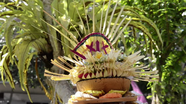 ms decorated street temple with offerings for ceremony / ubud, bali, indonesia - ubud district stock videos & royalty-free footage