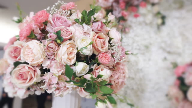 decorated wedding ceremony with a bouquet of fresh flowers. - i love you stock videos & royalty-free footage
