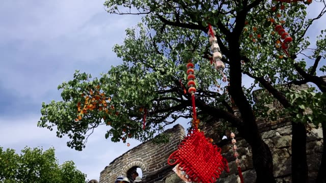 decorated wood on great wall of china - great wall of china stock videos & royalty-free footage