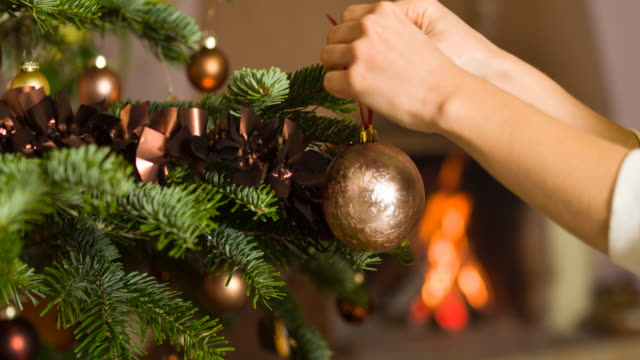 decorating the christmas tree - decoration stock videos & royalty-free footage