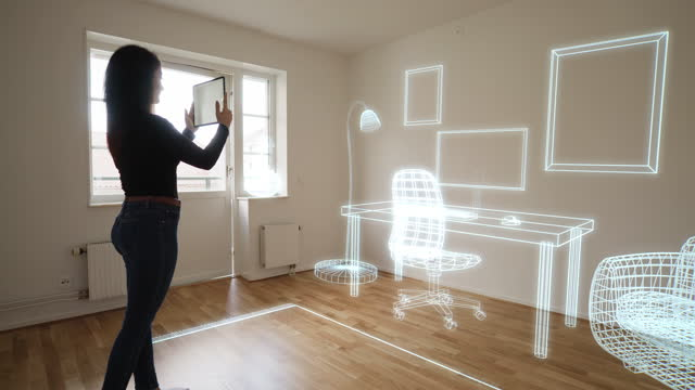 decorating the empty new home with augmented reality technology - new stock videos & royalty-free footage