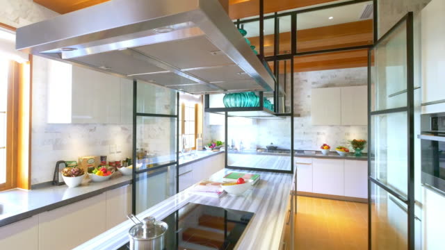 decoration and design of modern kitchen - kitchen stock videos & royalty-free footage